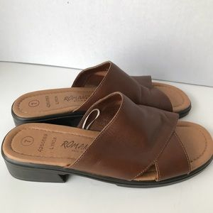 Romano Shoes Slide-In Brown Leather 7 Open Toe